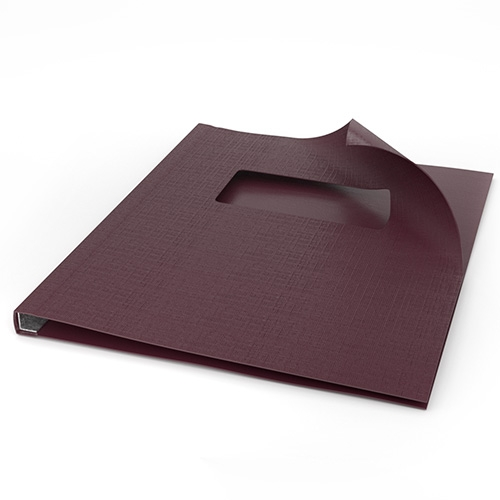 "ChannelBind Maroon 9"" x 11"" Linen Soft Covers with Window (Size B) - 25pk (CHB-28123), Binding Supplies Image 1"
