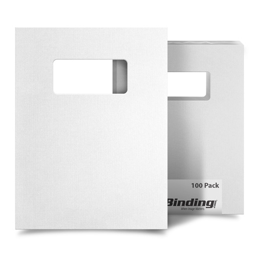 "White Linen 9"" x 11"" Index Allowance Covers with Windows - 100 Sets (MYLC9X11WHW) Image 1"