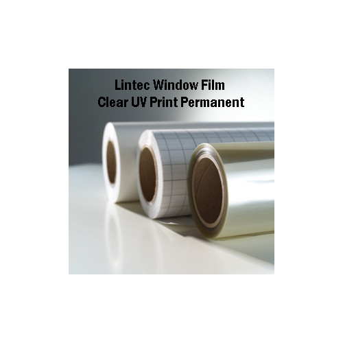 "Drytac Lintec Clear UV 2.0mil 54"" x 150' Printable Window Graphic Film with Permanent Adhesive (E-2000ZC-54) Image 1"