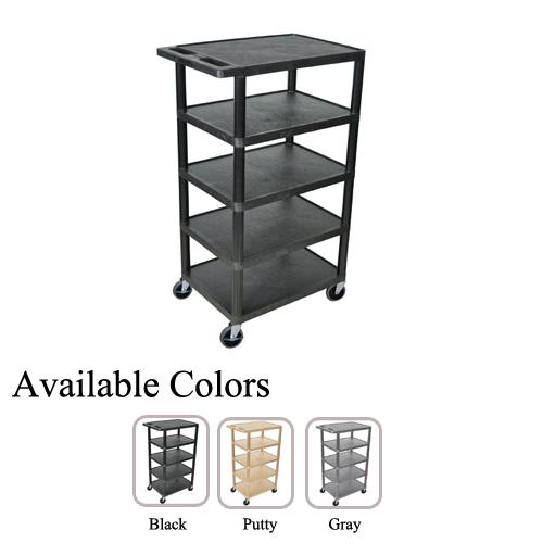 "Luxor 24"" x 18"" 5-Flat Shelf Molded Plastic Utility Carts (BC50-L5FSHPUC) - $107.68 Image 1"