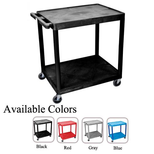 "Luxor 32"" Wide Molded Plastic 2-Shelf Utility Cart (HE38-LWMP2SUC) - $128.16 Image 1"