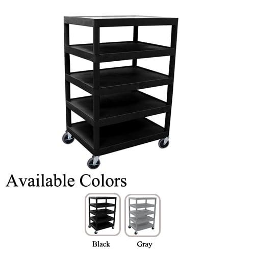 """Luxor 32"""" x 24"""" 5-Flat Shelf Molded Plastic Utility Cart (BC55-L5FSMPUC) Image 1"""
