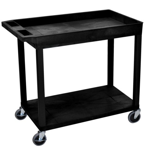 "Luxor 32"" x 18"" Black 1-Tub/1-Flat Shelf Utility Cart (EC12-B) Image 1"