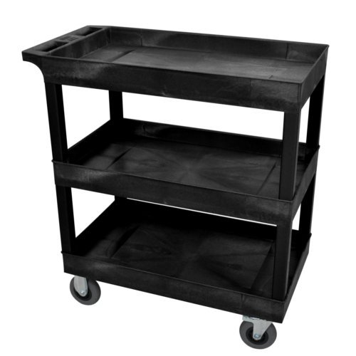 Tub Shelf Utility Cart Semi Pneumatic Casters Image 1