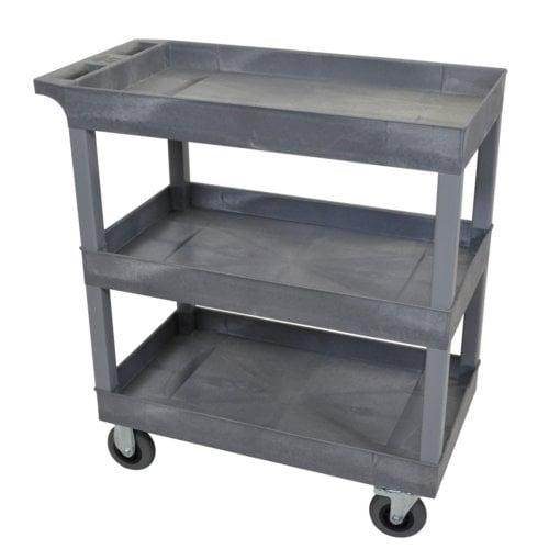 "Luxor 32"" x 18"" Gray 3-Tub Shelf Utility Cart w/ Semi-Pneumatic Casters (EC111SP5-G), Luxor brand Image 1"
