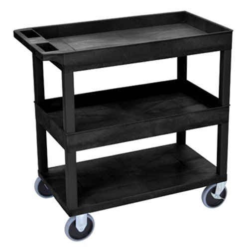 "Luxor 32"" x 18"" High Capacity Blue 2-Tub/1-Flat Bottom Shelf Utility Cart (EC112HD-BU) Image 1"