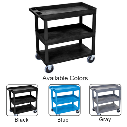 "Luxor 32"" x 18"" High Capacity 2-Tub/1-Flat Bottom Shelf Utility Carts (EC112HD) Image 1"