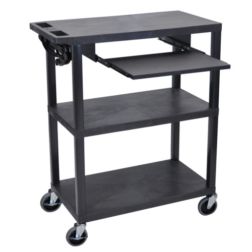 "Luxor 42"" High Black 3-Flat Shelf Presentation Station with Pullout Shelf (EA42LE-B) Image 1"