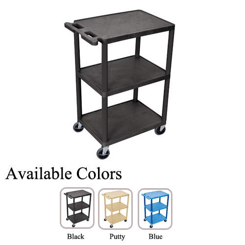 "Luxor 43"" Molded Plastic 3-Shelf Utility Carts (HE42-HMP3SUC) Image 1"