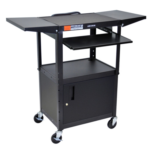 Luxor Adjustable Height Black Steel A/V Cart with Pullout Keyboard Tray,Cabinet and 2 Drop Leaf Shelves (AVJ42KBCDL) Image 1