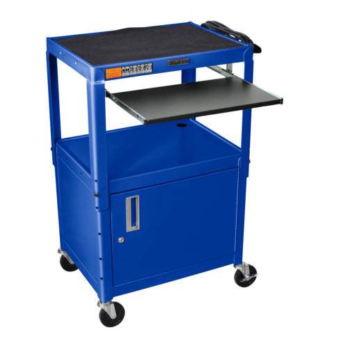 Luxor Adjustable Height Blue Steel A/V Cart with Pullout Keyboard Tray and Cabinet (AVJ42KBC-RB) Image 1