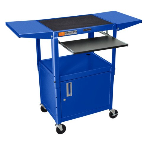 Luxor Adjustable Height Blue Steel A/V Cart with Pullout Keyboard Tray,Cabinet and 2 Drop Leaf Shelves (AVJ42KBCDL-RB) Image 1