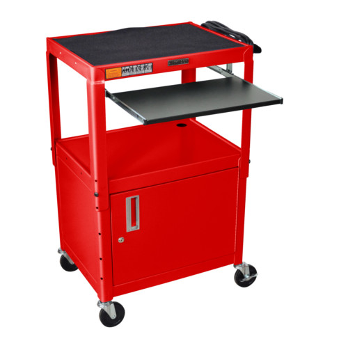 Luxor Adjustable Height Red Steel A/V Cart with Pullout Keyboard Tray and Cabinet (AVJ42KBC-RD) Image 1