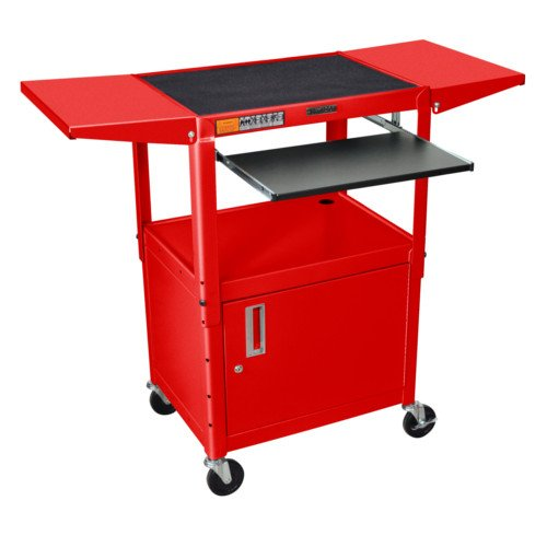 Luxor Adjustable Height Red Steel A/V Cart with Pullout Keyboard Tray,Cabinet and 2 Drop Leaf Shelves (AVJ42KBCDL-RD) Image 1
