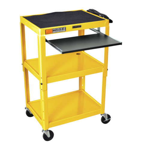 Luxor Adjustable Height Yellow Steel A/V Cart with Pullout Keyboard Tray (AVJ42KB-YW) Image 1