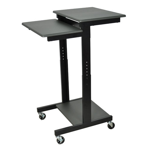 Luxor Gray Adjustable Height Presentation Cart (PS3945) Image 1
