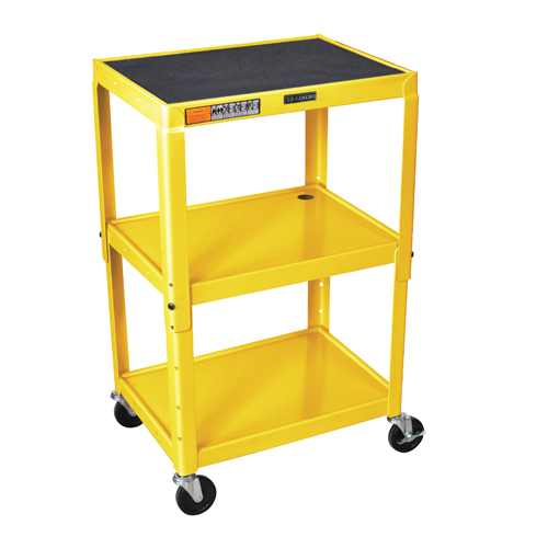Luxor Adjustable Height Yellow Steel 3-Shelf A/V Cart (AVJ42-YW) Image 1
