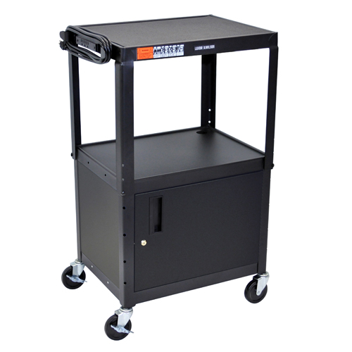 Luxor Black Adjustable Height Steel A/V Cart with Cabinet (AVJ42C) Image 1