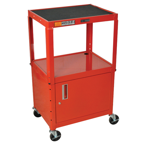 Luxor Red Adjustable Height Steel A/V Cart with Cabinet (AVJ42C-RD), Luxor brand Image 1