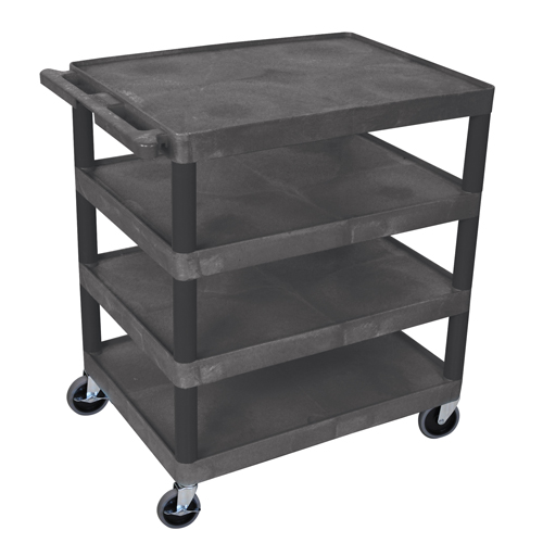 "Luxor Black 32"" x 24"" 4-Flat Shelf Molded Plastic Utility Cart (BC40-B)"