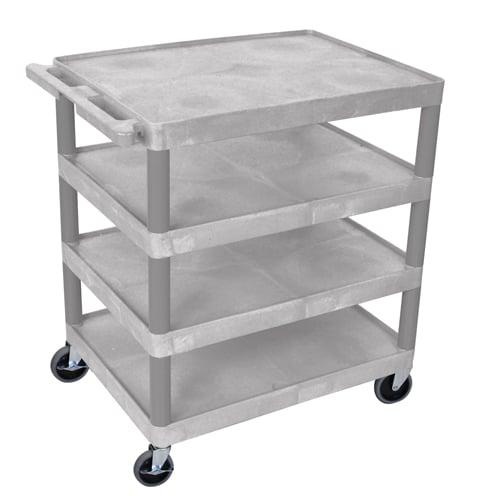 "Luxor Gray 32"" x 24"" 4-Flat Shelf Molded Plastic Utility Cart (BC40-G) Image 1"
