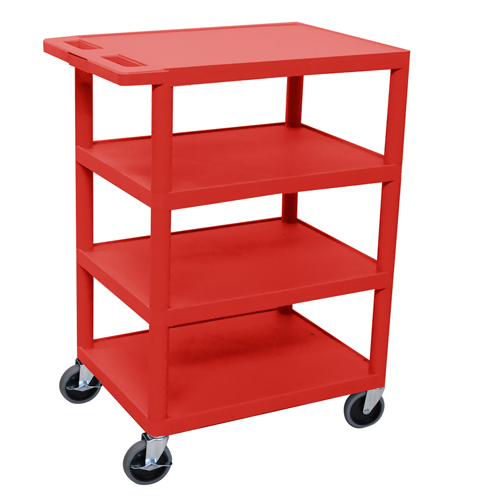 "Luxor Red 24"" x 18"" 4-Flat Shelf Molded Plastic Utility Cart (BC45-RD)"