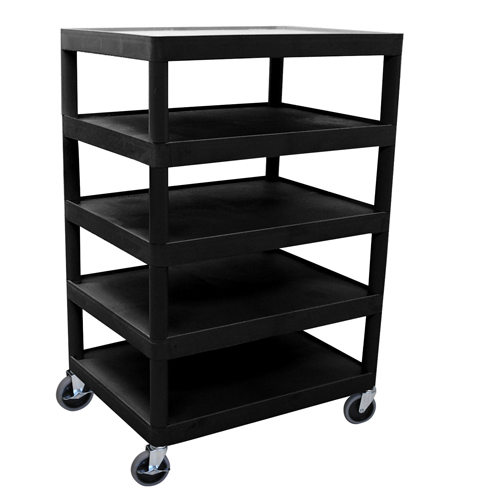 "Luxor Black 32"" x 24"" 5-Flat Shelf Molded Plastic Utility Cart (BC55-B)"