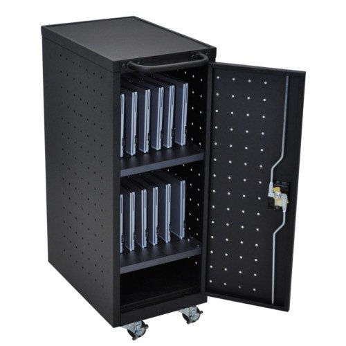 Luxor Black 12 Tablet and Laptop Computer Charging Cart (LLTP12-B) Image 1