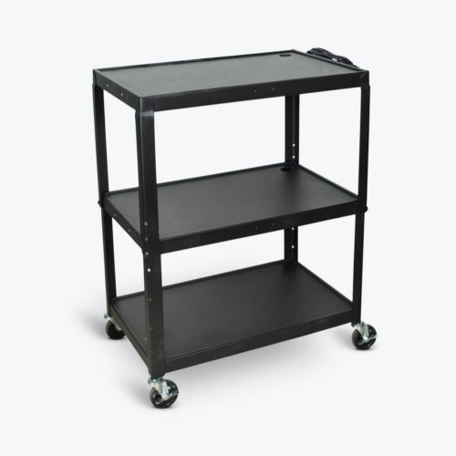 Luxor 3-Shelf Black Extra-Large Adjustable-Height Steel Audio/Visual Cart (AVJ42XL), Boards Image 1