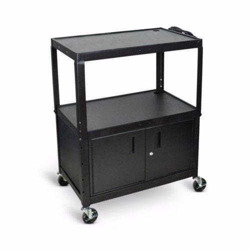 Luxor 3-Shelf Black Extra-Large Adjustable-Height Steel Audio/Visual Cart with Cabinet (AVJ42XLC), Boards Image 1