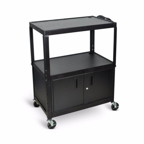 Adjustable Height Steel Cart with Cabinet Image 1