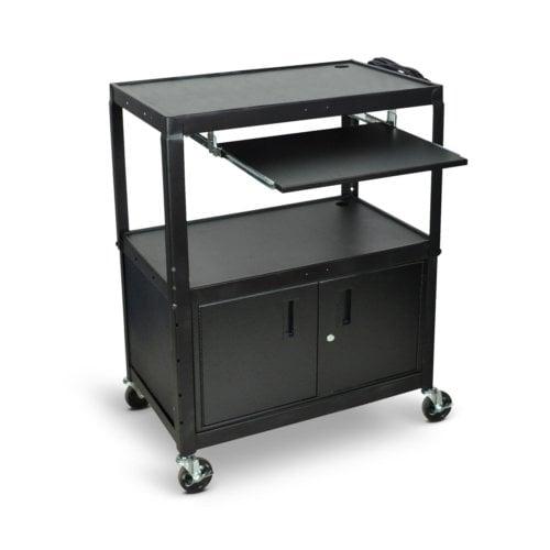 Luxor 3-Shelf Black Extra-Large Adjustable-Height Steel Audio/Visual Cart w/ Cabinet and Keyboard Tray (AVJ42XLKBC) Image 1