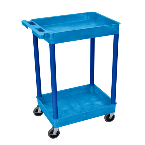"Luxor 37.5"" High Blue 2-Shelf Tub Utility Cart (BUSTC11BU) Image 1"