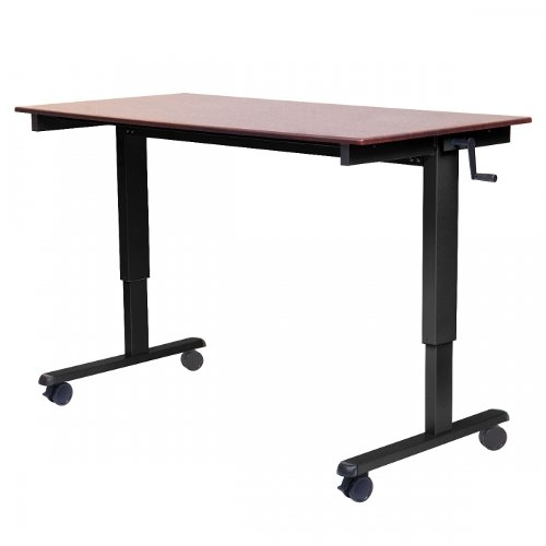 "Luxor 48"" Dark Walnut High-Speed Crank Adjustable Stand Up Desk (STANDCF48-BK/DW) Image 1"