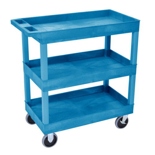 "Luxor 32"" x 18"" High-Capacity Blue 3-Tub Shelf Utility Cart (EC111HD-BU) Image 1"