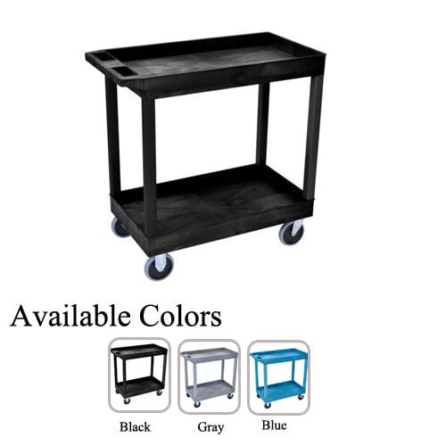 "Luxor 32"" x 18"" High Capacity 2-Tub Shelf Utility Carts (EC11HD), Boards Image 1"