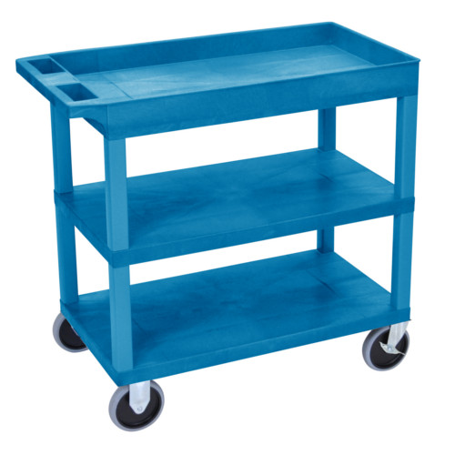 "Luxor 32"" x 18"" High Capacity Blue 2-Flat/1-Tub Top Shelf Utility Cart (EC122HD-BU) - $125.86 Image 1"