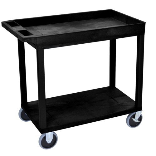 "Luxor 32"" x 18"" High Capacity Black 1-Tub/1-Flat Shelf Utility Cart (EC12HD-B) Image 1"