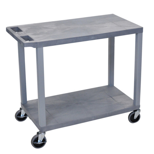 "Luxor 32"" x 18"" Gray 2-Flat Shelf Utility Cart (EC22-G) Image 1"