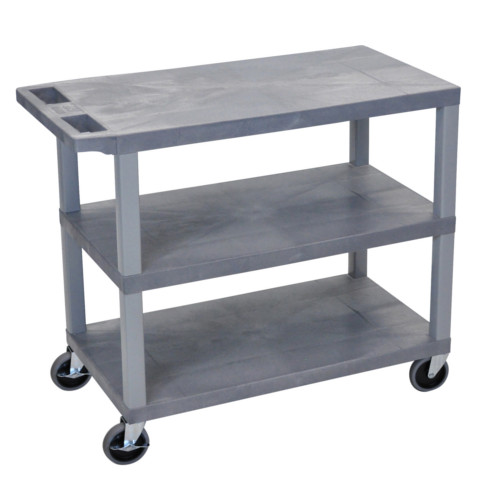 "Luxor 32"" x 18"" Gray 3-Flat Shelf Utility Cart (EC222-G) - $127.19 Image 1"