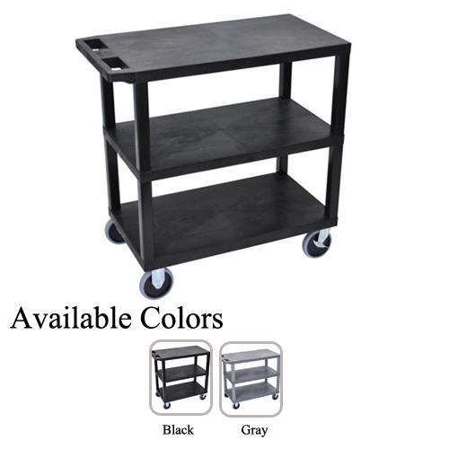 "Luxor 32"" x 18"" High Capacity Black 3-Flat Shelf Utility Carts (EC222HD) - $110.48 Image 1"
