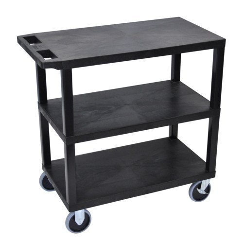 "Luxor 32"" x 18"" High Capacity Black 3-Flat Shelf Utility Cart (EC222HD-B) - $110.48 Image 1"