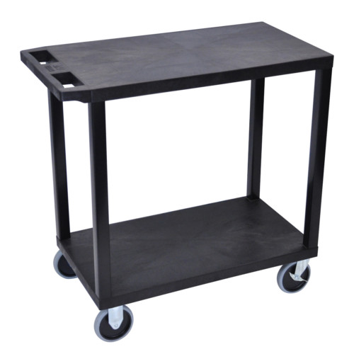 "Luxor 32"" x 18"" High Capacity Black 2-Flat Shelf Utility Cart (EC22HD-B) - $93.79 Image 1"