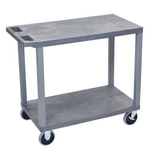 "Luxor 32"" x 18"" High Capacity Gray 2-Flat Shelf Utility Cart (EC22HD-G) Image 1"
