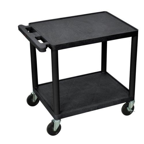 """Luxor Endura 26"""" High Black 2-Shelf A/V Utility Cart (LP26E-B), Boards Image 1"""