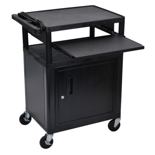 """Luxor Endura 34"""" High Black 3-Shelf A/V Utility Cart with Cabinet and Front Pullout Shelf (LP34CLE-B), Luxor brand Image 1"""