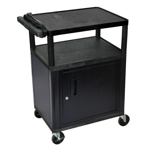 "Luxor Endura 34"" High Black 3-Shelf A/V Utility Cart with Cabinet (LP34CE-B) Image 1"