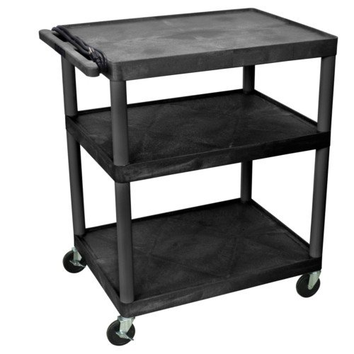 "Luxor Endura 40.25"" High Black 3-Shelf A/V Utility Cart (LP40E-B) Image 1"