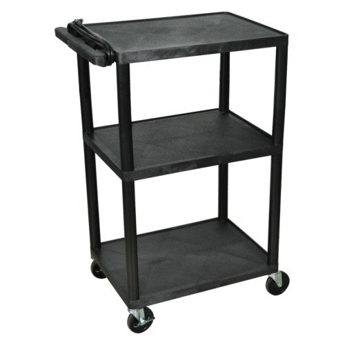 "Luxor Endura 42"" High Black 3-Shelf A/V Utility Cart (LP42E-B) Image 1"