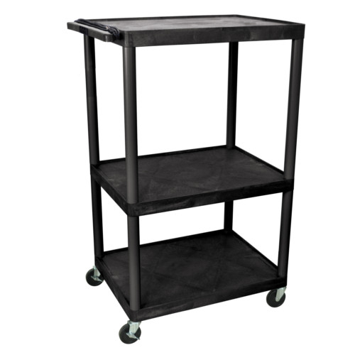 "Luxor Endura 54.25"" High Black 3-Shelf A/V Utility Cart (LP54E-B) Image 1"